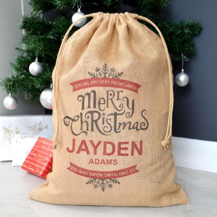 Personalised Merry Christmas Hessian Santa Sack